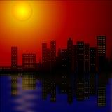 staden tänder natt Royaltyfri Foto