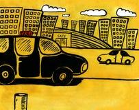staden taxar stock illustrationer