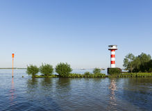 Stadersand lighthouse on the Elbe river Stock Photos