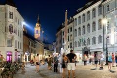 Stadfyrkant Ljubljana vid natt Royaltyfria Bilder