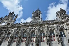 Stadhuis Мидделбург - старая башня здание муниципалитета в Нидерландах Стоковое Изображение