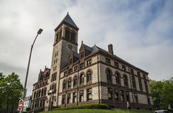 Stadhuis, bij Centraal Vierkant, in Cambridge, Massachusetts Royalty-vrije Stock Afbeelding