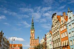 Stadhuis bij Lange de Marktstraat van Dluga, Gdansk, Polen stock foto