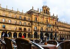 Stadhuis bij Pleinburgemeester in Salamanca Royalty-vrije Stock Afbeelding