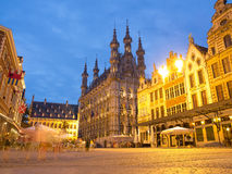 Stadhuis in Leuven bij Nacht Stock Foto's