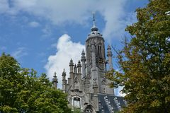 Stadhuis Middelburg - παλαιός πύργος αιθουσών πόλεων στις Κάτω Χώρες Στοκ Εικόνες