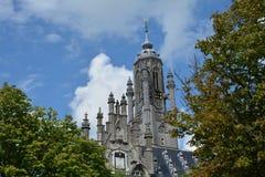 Stadhuis Middelburg - gammalt stadshustorn i Nederländerna Arkivbilder