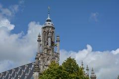 Stadhuis Middelburg - stary urzędu miasta wierza w holandiach Fotografia Stock