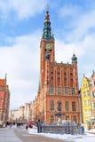 Stadhuis op de oude stad van Gdansk Stock Foto