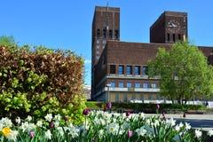 Stadhuis in Oslo, Noorwegen stock foto's