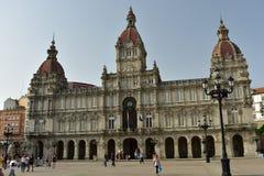 Stadhuis, Plein DE Maria Pita La Coruna, Spanje royalty-vrije stock foto's