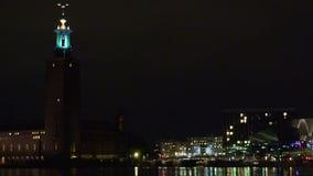 Stadhuis in Stockholm zweden Nacht, lichten stock footage