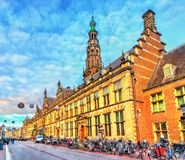 The Stadhuis, the Town Hall of Leiden in the Netherlands stock images