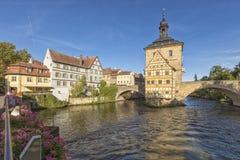 Stadhuis van Bamberg, Beieren, in de ochtend royalty-vrije stock foto