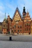 Stadhuis van Wroclaw, Polen stock foto's