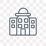 Stadhuis vectordiepictogram op transparante lineaire achtergrond wordt geïsoleerd, stock illustratie