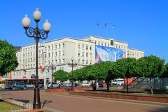 Stadhuis in Victory Square in Kaliningrad in Juli Royalty-vrije Stock Foto's