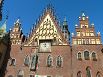 STADHUIS IN WROCLAW, POLEN royalty-vrije stock afbeelding