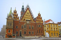 Stadhuis in Wroclaw stad, Polen Royalty-vrije Stock Afbeelding