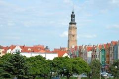 Stadhuistoren en andere gebouwen in Glogow, Polen Royalty-vrije Stock Fotografie