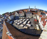 Stadhuisvierkant in de oude stad van Tallinn, Estland op 26 Juli, Stock Fotografie
