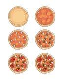 Stadia van het koken van pizza, schets voor uw ontwerp Royalty-vrije Stock Foto's