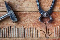 Stadia van reparatie thuis - om de oude spijkers terug te trekken Stock Afbeeldingen