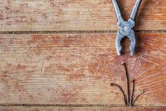 Stadia van reparatie thuis - om de oude spijkers terug te trekken Royalty-vrije Stock Fotografie