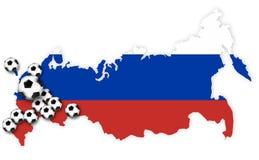 Stadia 2018 w Russia piłki nożnej futbolu 3d odpłacają się Obrazy Royalty Free