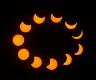 Stadien der teilweisen Sonnenfinsternis im August 2017 Stockbild