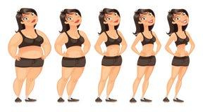 Stadien des Gewichtsverlusts Stockfotografie