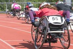 Stadiium della corsa della sedia a rotelle Immagini Stock Libere da Diritti