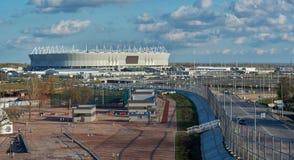"""Stadio """"arena di Rostov """"sui precedenti delle nuvole immagine stock libera da diritti"""