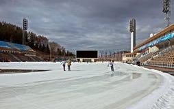 Stadio all'aperto di Medeo - di Almaty immagini stock libere da diritti