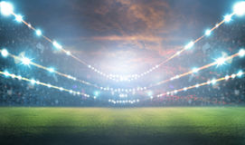 Stadio alle luci ed ai flash 3d Fotografia Stock