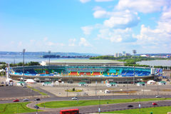 stadio centrale nella città Kazan Il Tatarstan La Russia Tiltshift immagini stock