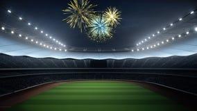 Stadio con i fan la notte prima della partita rappresentazione 3d Fotografie Stock Libere da Diritti