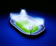 Stadio con il campo di calcio con le luci su fondo blu scuro Fotografie Stock Libere da Diritti