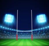 Stadio con le luci e lo scopo ENV 10 di rugby Fotografia Stock Libera da Diritti