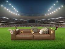 Stadio con un sofà nel mezzo rappresentazione 3d Fotografia Stock Libera da Diritti