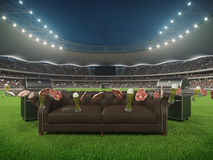 Stadio con un sofà nel mezzo rappresentazione 3d Immagini Stock