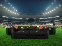 Stadio con un sofà nel mezzo rappresentazione 3d Immagini Stock Libere da Diritti