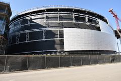 Stadio continuo dei guerrieri del Golden State il nuovo in costruzione, 8 immagini stock