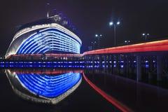 Stadio dei giochi asiatici alla notte, Canton, Cina Immagini Stock