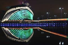 Stadio dei giochi asiatici alla notte, Canton, Cina Immagine Stock