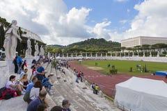 Stadio dei Marmi. Athletes on  Stadio dei Marmi the warm up stadium in Rome, Italy - 2016 Royalty Free Stock Photo