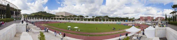 Stadio dei Marmi. Athletes on  Stadio dei Marmi the warm up stadium in Rome, Italy - 2016 Royalty Free Stock Photography