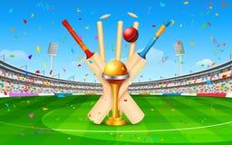 Stadio del cricket con il pipistrello, la palla ed il trofeo Fotografia Stock