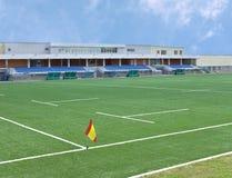 Stadio della tribuna e campo di rugby Immagine Stock Libera da Diritti