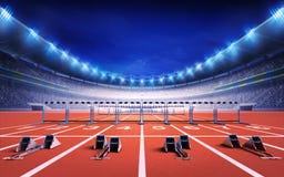 Stadio di atletica con la pista di corsa con i blocchetti e le transenne iniziare illustrazione di stock
